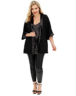 Black Sequin Cami and Kimono Set