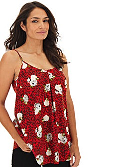 Red Leopard Print Strappy Cami