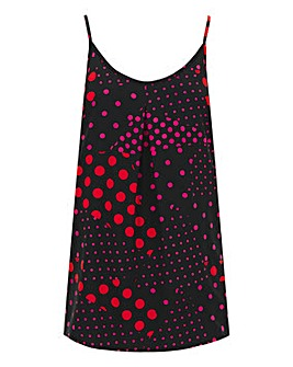 Red/Black Spot Print Strappy Cami