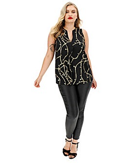 Black & Gold Chain Foil Print V-Neck Detail Vest