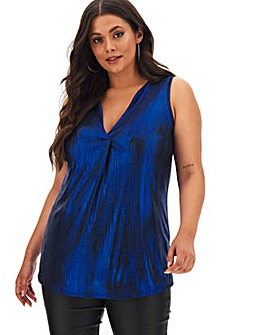 Metallic Blue V-Neck Detail Vest