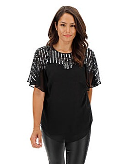 Black Cape Top With Sequin Embellishment