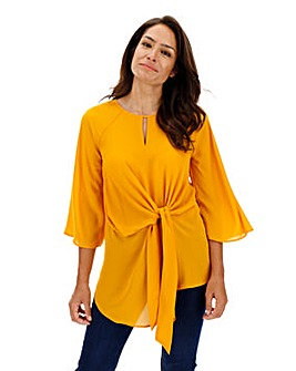Ochre Knot Front Blouse