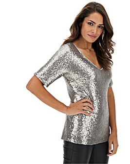 Gun Metal V-Neck Sequin Shell Top