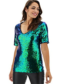 Iridescent Sequin V-Neck Shell Top