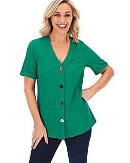 Green Metallic Button Front Blouse