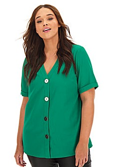 Green Metallic Button Front Blouse