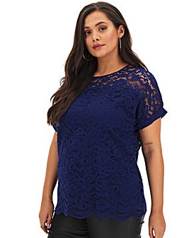 Navy All Over Corded Lace Boxy Top