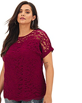 Wine All Over Corded Lace Boxy Top