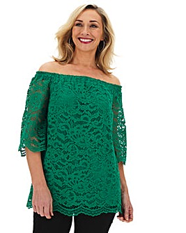 Green All Over Lace 3/4 Sleeve Bardot
