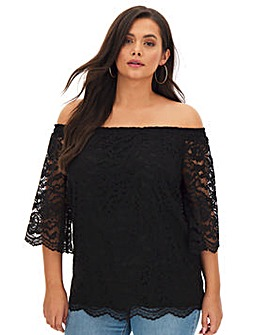 Black All Over Lace 3/4 Sleeve Bardot