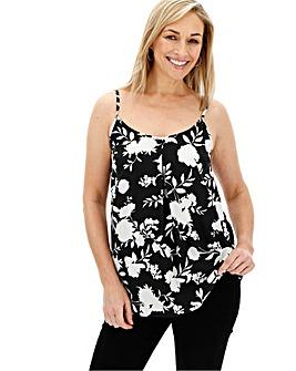 Black Floral Strappy Cami Top