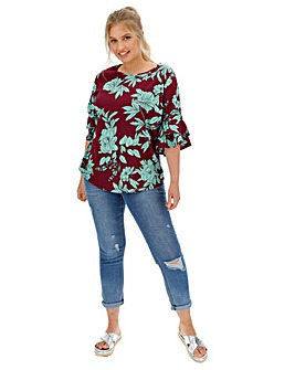 Fluted Sleeve Blouse