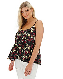 Black/Red Printed Woven Strappy Cami