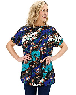 Black/Blue Print Longer Length Boxy Top