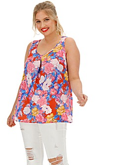Multi Floral Pleat Front Vest