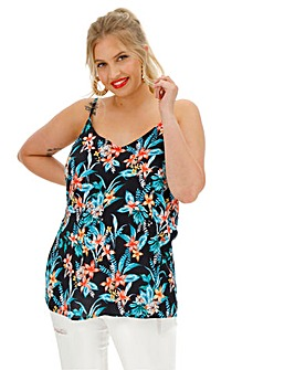 Black Floral Cami with Back Strap