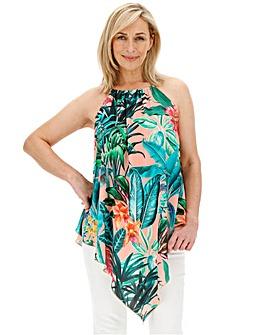 Tropical Print Hanky Hem Top