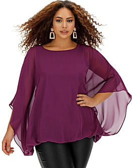 Purple Bubble Hem Overlay Blouse