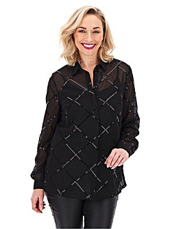Black Sequin Grid Design Shirt