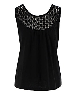 Sleevless Lace Trim Jersey Top