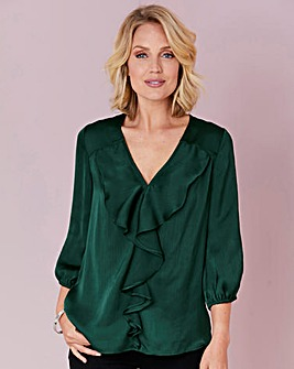 Julipa Emerald Frill Front Blouse