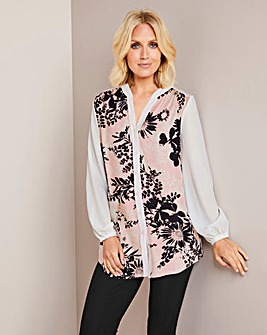 Julipa Print Chiffon Sleeve Tunic Shirt