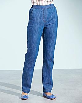 Pull-On Straight-Leg Jeans Long