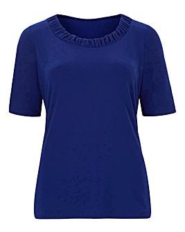 Pale Blue Ruched Neckline Jersey Top