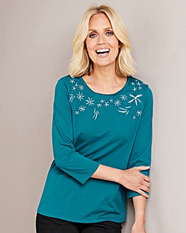 Julipa Green Embroidered Jersey Top