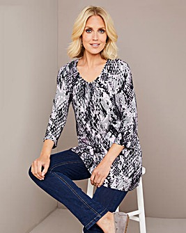 Julipa Snake Print Gathered Neck Tunic