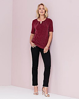 Julipa Dark Red Glitter Top With Trim