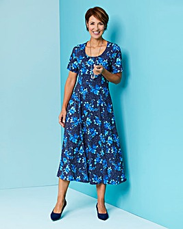 Navy Multi Print Round Neck Jersey Dress