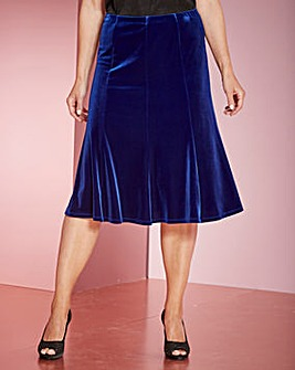 Pull on Panelled Velour Skirt 27in