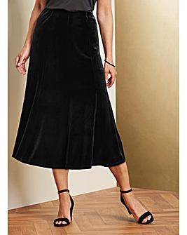 Pull on Panelled Velour Skirt 32in