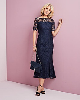 Stretch Lace Dress with Scalloped Detail