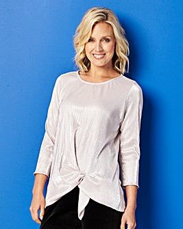 Metallic Plisse Tunic with Knot