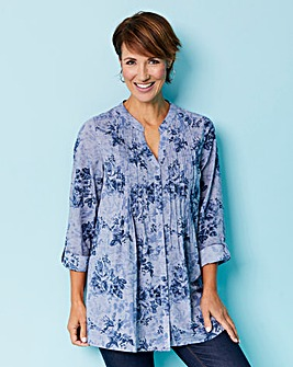 Chambray Effect Cotton Printed Blouse