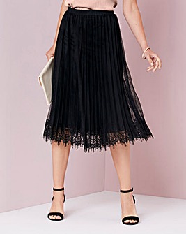Pleat Lace Trim Skirt