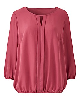 Bubble Hem Pleat Front Blouse