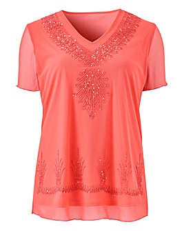 Julipa Caviar Beaded Mesh Jersey Top