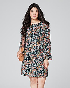 Black/Pink Woven Flare Sleeve Dress
