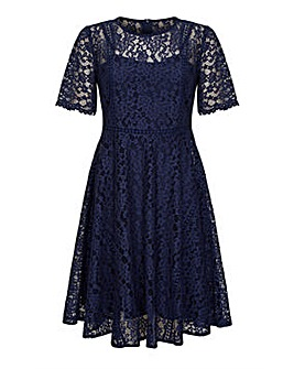 Yumi Curves Fit And Flare Navy Lace Dres