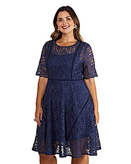 Yumi Curves Fit And Flare Navy Lace Dress With Lace