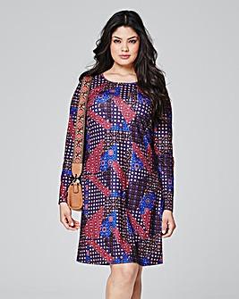 Purple Print Jersey Swing Dress