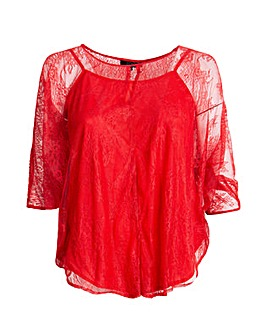 Koko Red Lace Cape Sleeve Blouse