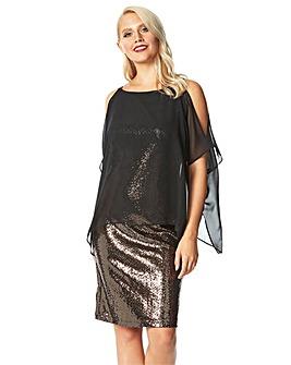 Roman Chiffon Cold Shoulder Sequin Dress