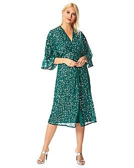 Roman Twist Front Sequin Midi Dress