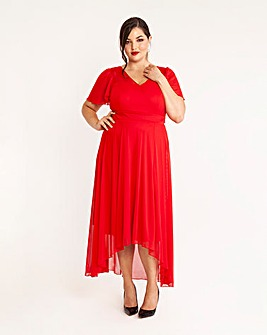 Scarlett & Jo Red Dipping Hem Dress