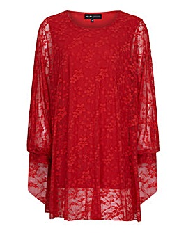 Mela London Curve Floral Lace Tunic Top